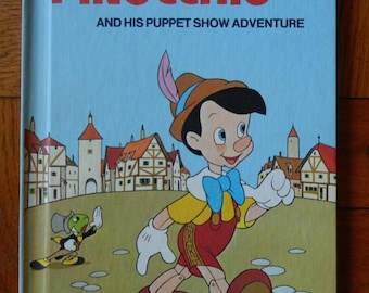 Retro 70's Walt Disney's Pinocchio And His Puppet Show Adventure Hardcover Children's Book