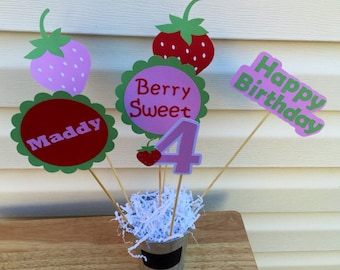 Strawberry Centerpiece Set, Strawberry Shortcake Centerpiece Sticks, Strawberry Party Theme, Strawberry Party