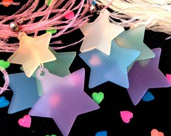 Rainbow Pastel Dangling Stars Earrings, Laser Cut Acrylic, Plastic Jewelry