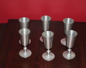 Six Woodford Pewter Cordials