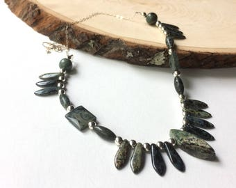 Jasper Bib Necklace, Green Jasper Points, Forest Green and Silver, Unique Kambaba Jasper Gemstone Jewelry, One of a Kind, Gift for Her