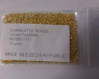 Czech #15, 24 carat gold plated charlottes