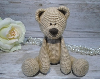 brown Bear, Crochet Bear, Sandy coloured bear, teddy bear, handmade bear, baby gift, birthday, christmas, baby shower, gender neutral