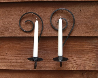 Candle Sconces, Pair of Wrought Iron Candle Sconces, Vintage Wall Sconces, Curled Iron Candle Holders, Wrought Iron Candle Holders