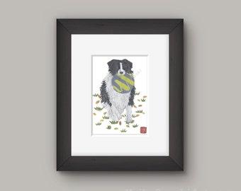 Border Collie Art, Border Collie Print, Border Collie Gift, Sheep Dog