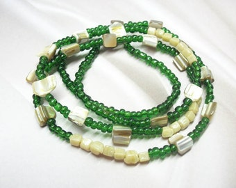 Green beaded bone wrap necklace