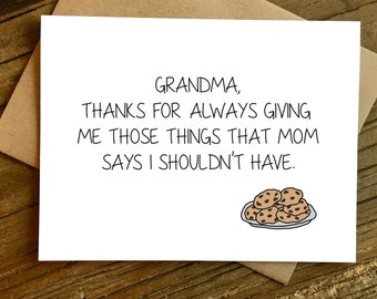 Mother's Day Card for Grandma - Grandma Card - Grandma Birthday - Cookies.