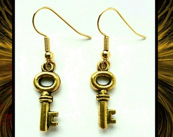 Gold Key Earrings // Key Earrings