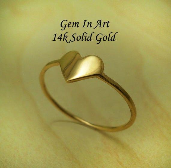 Dainty Gold Ring14K Gold RingGold Heart RingGold