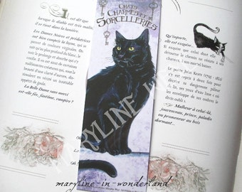 "Bookmark black cat ""cats, charms and sorceries"""