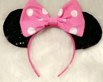 Minnie Mouse Inspired Disney Ears Pink Bow Minnie Vacation Land World Headband Handmade