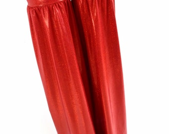 Stilt Covers in Red Holographic Shiny Metallic Spandex Stilting Leg Covers 152876