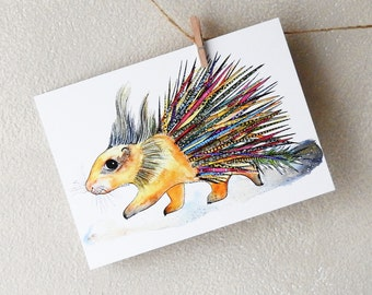 Postcrossing - Porcupine Postcard - Cute Card - Funny Postcards - Watercolor Picture - Animal Card - Blank Card - Picture for Kid -Porcupine