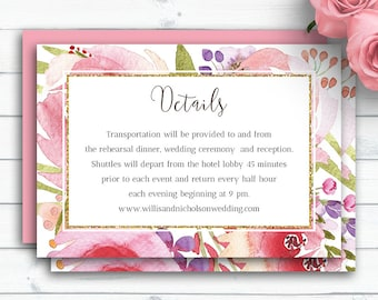 Personalized Wedding Details Card, Details Card Wedding, Watercolor Floral Detail Card Template,Information Card,Wedding Info Card,Printable
