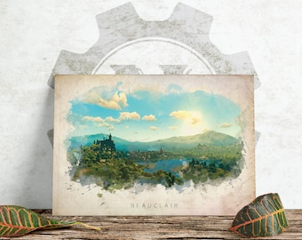 The Witcher 3 - Beauclair Abstract Watercolor Poster