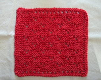 Hand Knit Red Dishcloth or Washcloth - measures approximately  8x9 inches