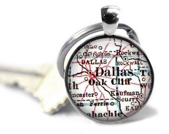 Dallas Texas Keychain, Map keychain for men, Husband gift, Gift for Him, mens keychain, custom man keychain, Texas Map Keychain Gift, A295