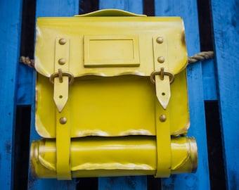 Handmade metal mailbox Schoolbag with Stripes