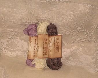 Scrunched Seam Binding ribbon, Crinkled Seam Binding Package  Cream Violette ECS
