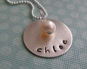 custom silver name necklace with birthstone