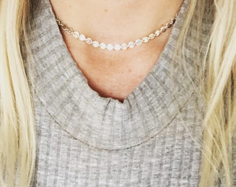 Sterling silver sequin disc choker, Lola, pretty layering jewelry