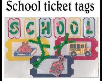 CLEARANCE SALE * Scrapbook Page School Scrapbook Paper Layout kit Scrapbooking  Embellishment 3d School tags ticket Scrapbook Paper Piecing