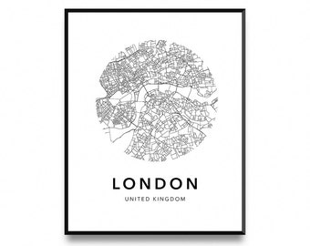 London map poster, map of london poster, london map, london city map, london print, map wall art poster, map print, printable art, art print