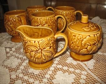 Tea, 4 cups, sugar, creamer set. Japan.ceramique.