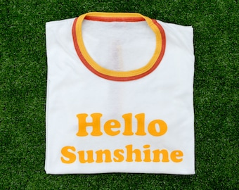 NEW Double Ringer Retro Screen Print T-shirt / Hello Sunshine Tee