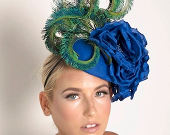 Stunning Electric Blue Colbolt Fascinator Headpiece