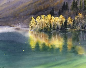 Autumn lake - Original watercolour painting