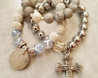 Beaded bracelets stretch bracelets stacking bracelets layering bracelets stack of bracelets bracelets sets cross bracelet white bracelet