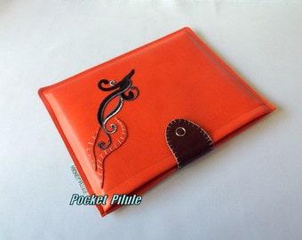 "Ipad mini cover ""Ornamental""color leather orange-colored salmon"