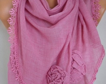 Valentine's Gift,Pink Scarf, Shawl,Fall Scarf, Lace Oversized Bridesmaid Bridal Accessories, Gift Ideas For Her Women Fashion Accessories