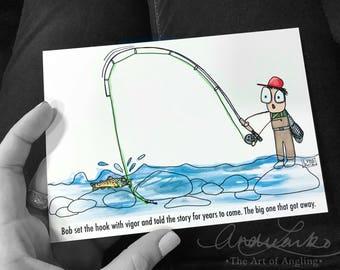 "Bob Fly Fishing Cartoon Series Rock Fish Art Print 5""x7"""
