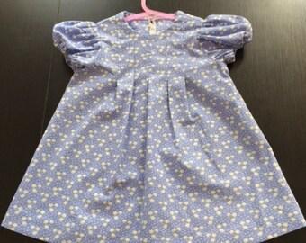 Handmade Girls Cornflower blue with mini white star flowers dress - Age 12-18 months