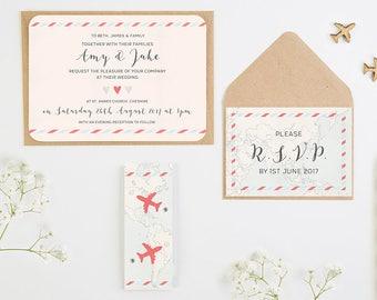 Travel Collection – Map & Airplane Wedding Invitation Bundle