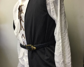BOYS PIRATE VEST Renaissance, Medieval, Buccaneer costume vest. Boy's size 14-16up-cycled black, gray and white striped cotton