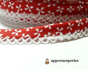 50cm 12mm ref FF4039 collection 50 red geometric lace bias tape