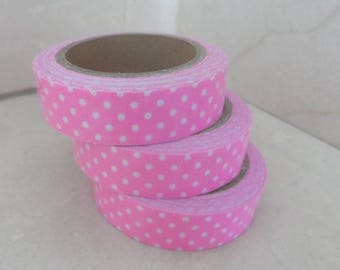 1 roll of adhesive fabric pink polka dot 5 meters