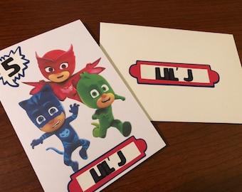 PJ Masks Birthday Card