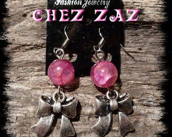 Bow charm earrings and #4 pink agate beads