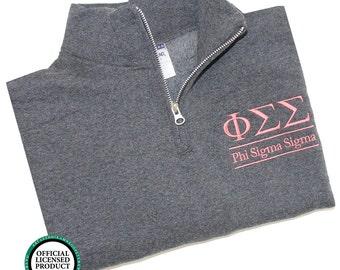 Phi Sigma Sigma Quarter Zip Pullover, Phi Sigma Sigma cadet fleece pullover, Phi Sigma Sigma Sorority Letters, Phi Sigma Sigma sweatshirt