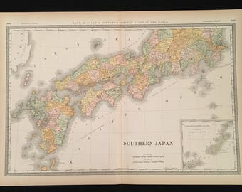 1887 Map of Southern Japan, Original Antique Map, Extra Large Map by Rand McNally, Antique Map for Framing