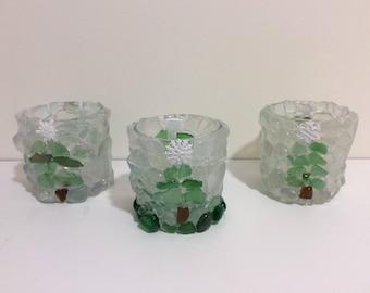Handmade Christmas Tree Boho Sea Glass Candle Holder