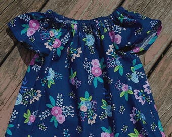 Girl's Infants Toddlers Navy and Pink Floral Peasant Dress