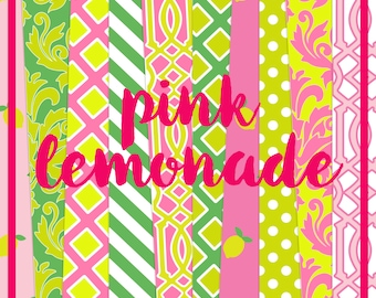 Pink Lemonade Digital Paper Pack (Instant Download)