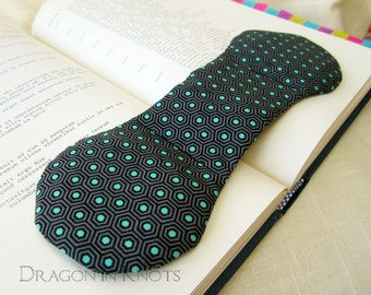 Geometric Book Weight in Gray, Black, Turquoise Hexagon Pattern, reading aid, masculine weighted bookmark page holder, Father's Day Gift