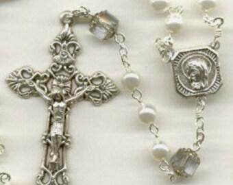 Handmade White Pearl & Alexandrite (lavender) Czech Glass Rosary ~ June Birthstone