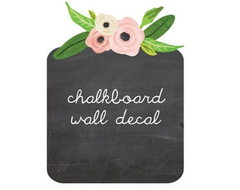 Chalkboard and watercolor flowers wall decal eco fabric wall decals
